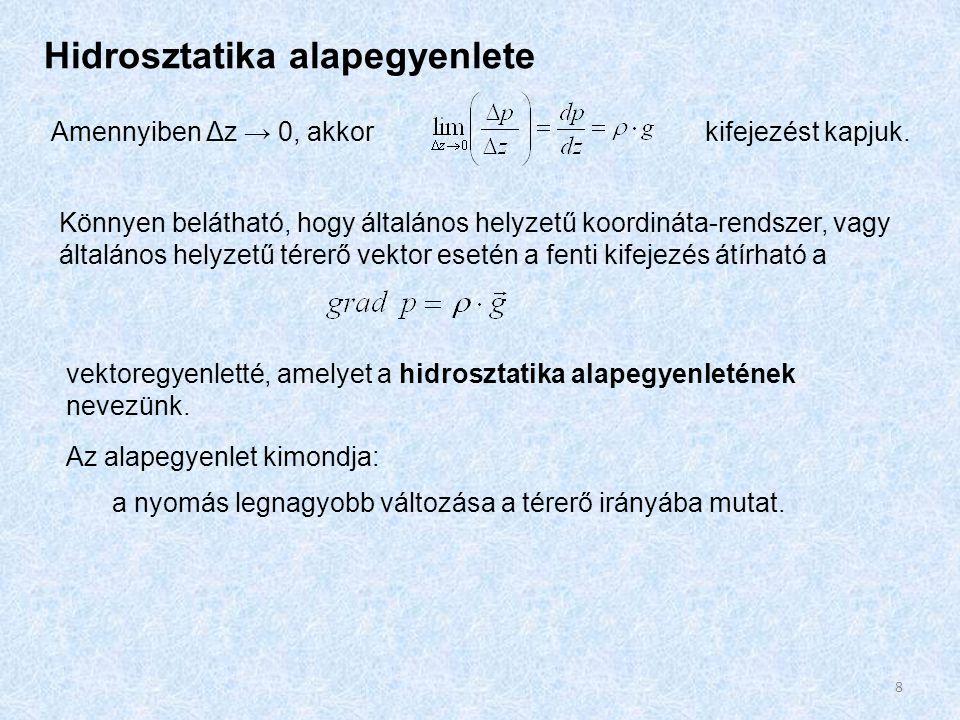 Hidrosztatika alapegyenlete Amennyiben Δz → 0, akkorkifejezést kapjuk. Könnyen belátható, hogy általános helyzetű koordináta-rendszer, vagy általános