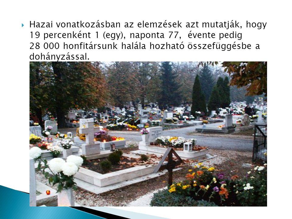  Hazai vonatkozásban az elemzések azt mutatják, hogy 19 percenként 1 (egy), naponta 77, évente pedig 28 000 honfitársunk halála hozható összefüggésbe