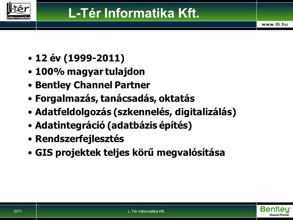 12 év (1999-2011) 100% magyar tulajdon Bentley Channel Partner Forgalmazás, tanácsadás, oktatás Adatfeldolgozás (szkennelés, digitalizálás) Adatintegráció (adatbázis építés) Rendszerfejlesztés GIS projektek teljes körű megvalósítása L-Tér Informatika Kft.