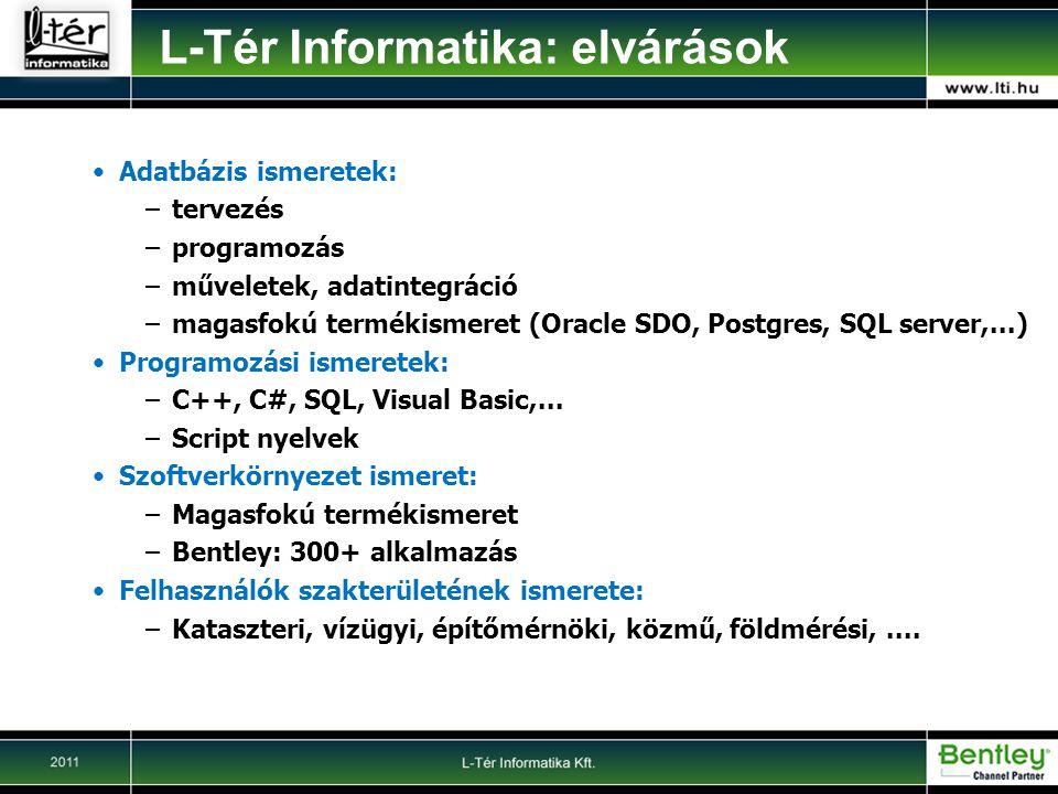 Adatbázis ismeretek: –tervezés –programozás –műveletek, adatintegráció –magasfokú termékismeret (Oracle SDO, Postgres, SQL server,...) Programozási ismeretek: –C++, C#, SQL, Visual Basic,...
