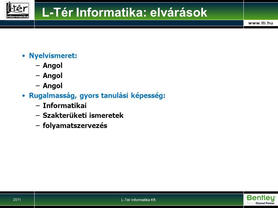 Nyelvismeret: –Angol Rugalmasság, gyors tanulási képesség: –Informatikai –Szakterüketi ismeretek –folyamatszervezés L-Tér Informatika: elvárások