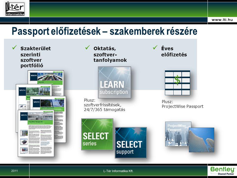 $ Passport előfizetések – szakemberek részére Szakterület szerinti szoftver portfólió Oktatás, szoftver- tanfolyamok Plusz: szoftverfrissítések, 24/7/365 támogatás ProjectWise Passport Éves előfizetés Plusz: ProjectWise Passport