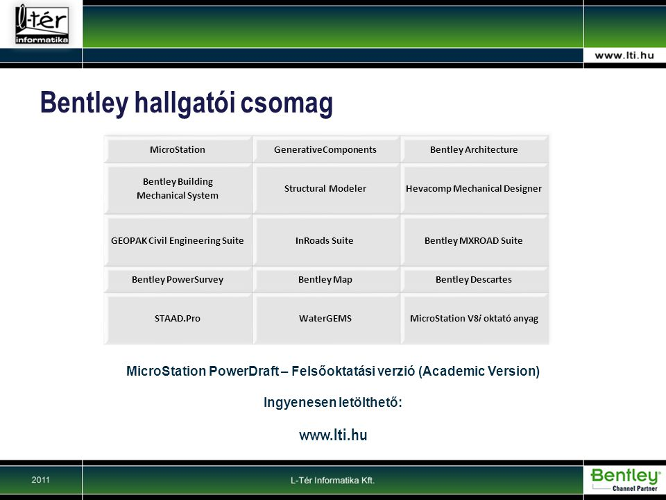 Bentley hallgatói csomag MicroStation PowerDraft – Felsőoktatási verzió (Academic Version) Ingyenesen letölthető: www.lti.hu