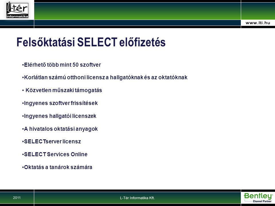 Felsőktatási SELECT előfizetés Elérhető több mint 50 szoftver Korlátlan számú otthoni licensz a hallgatóknak és az oktatóknak Közvetlen műszaki támogatás Ingyenes szoftver frissítések Ingyenes hallgatói licenszek A hivatalos oktatási anyagok SELECTserver licensz SELECT Services Online Oktatás a tanárok számára