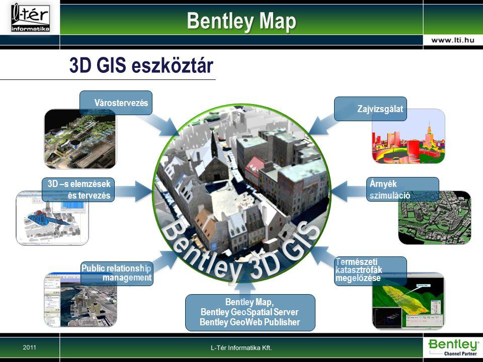 3D GIS eszköztár Zajvizsgálat Árnyék szimuláció Public relationship management Várostervezés Természeti katasztrófák megelőzése Bentley Map, Bentley GeoSpatial Server Bentley GeoWeb Publisher 3D –s elemzések és tervezés Bentley Map