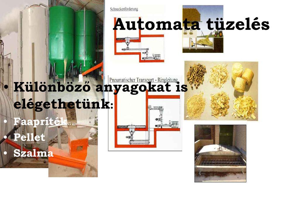 Automata tüzelés Különböző anyagokat is elégethetünk : Faapríték Pellet Szalma