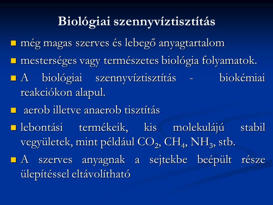 Biológiai szennyvíztisztítás még magas szerves és lebegő anyagtartalom még magas szerves és lebegő anyagtartalom mesterséges vagy természetes biológia