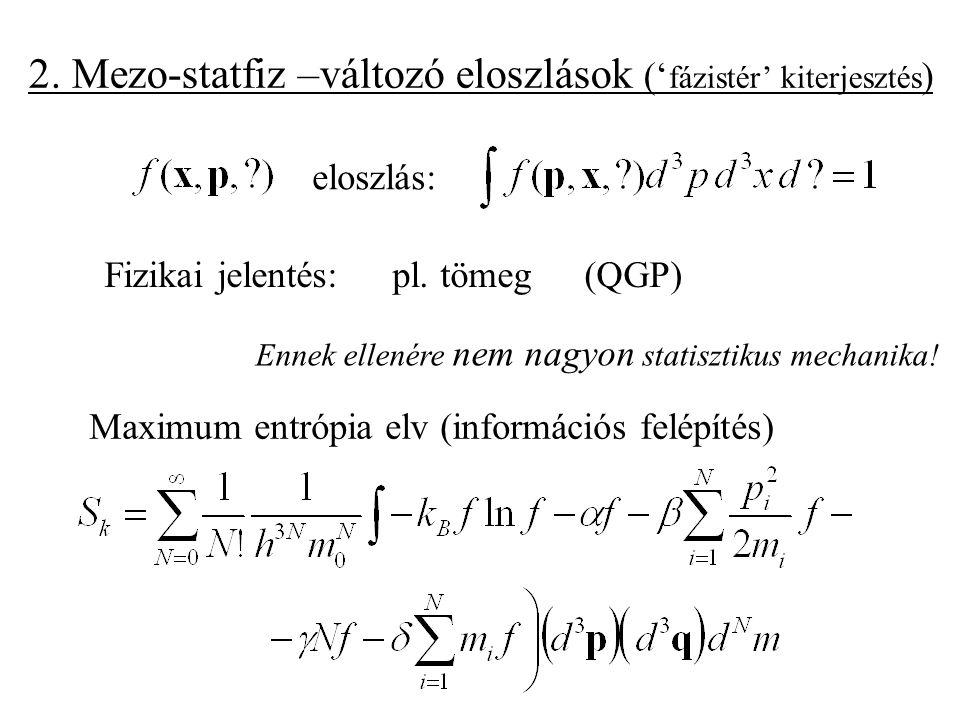 2. Mezo-statfiz –változó eloszlások (' fázistér' kiterjesztés ) Ennek ellenére NEM statisztikus mechanika! eloszlás: Fizikai jelentés: pl. tömeg (QGP)