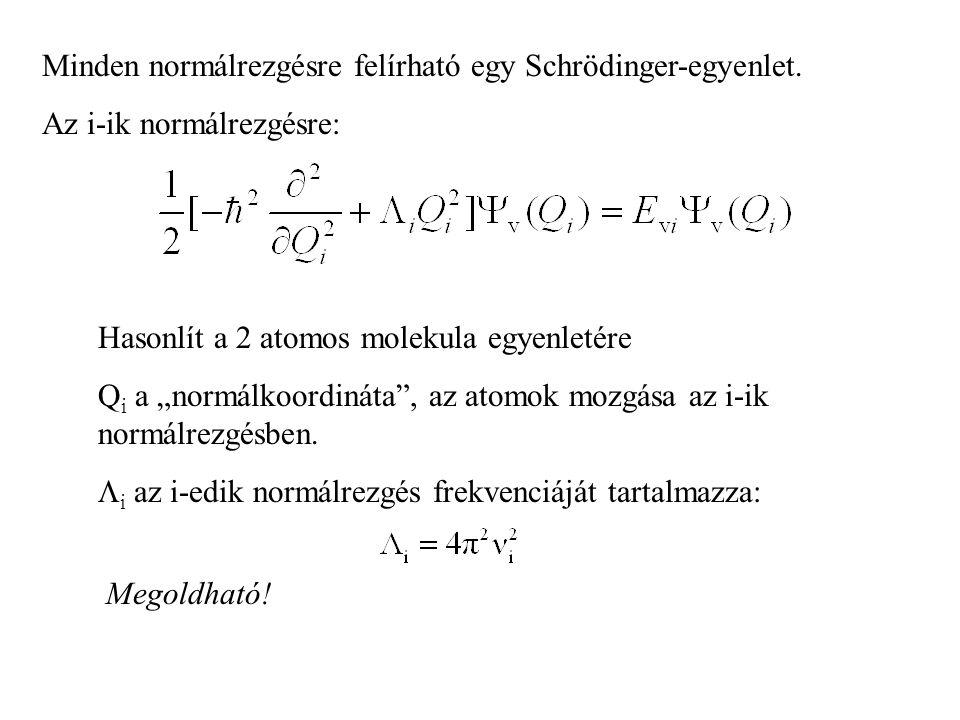 """Minden normálrezgésre felírható egy Schrödinger-egyenlet. Az i-ik normálrezgésre: Hasonlít a 2 atomos molekula egyenletére Q i a """"normálkoordináta"""", a"""