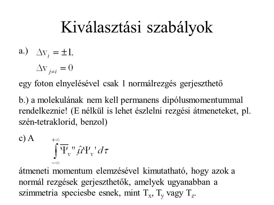 Kiválasztási szabályok a.) egy foton elnyelésével csak 1 normálrezgés gerjeszthető b.) a molekulának nem kell permanens dipólusmomentummal rendelkezni