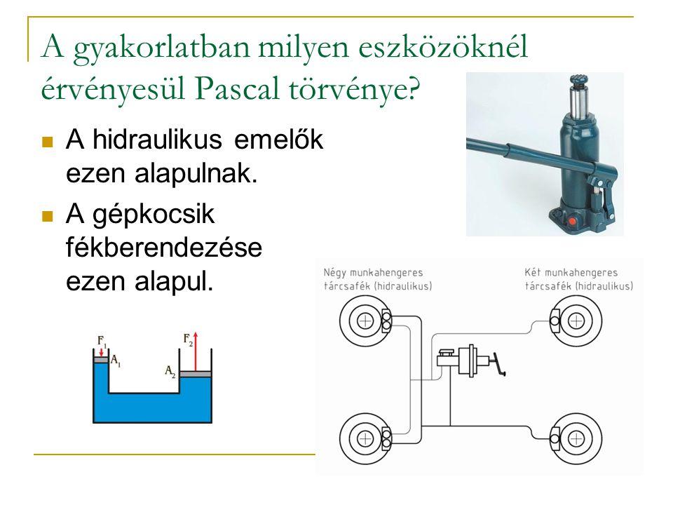 A gyakorlatban milyen eszközöknél érvényesül Pascal törvénye.