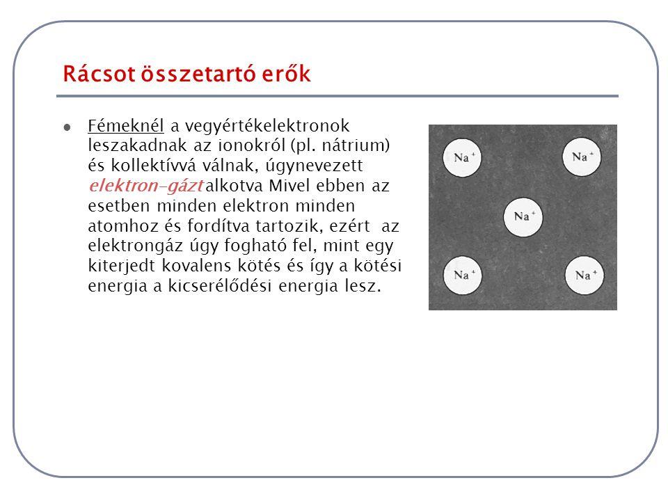 Rácsot összetartó erők Fémeknél a vegyértékelektronok leszakadnak az ionokról (pl. nátrium) és kollektívvá válnak, úgynevezett elektron-gázt alkotva M