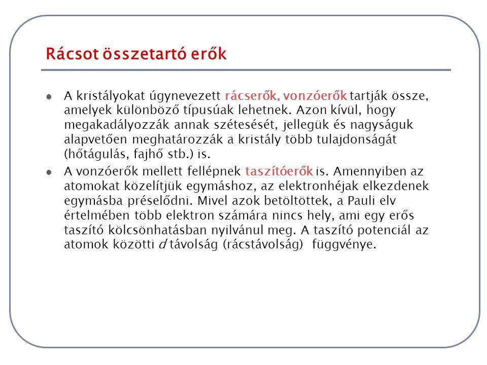 Rácsot összetartó erők A legegyszerűbb kristályok zárt elektronhéjjal rendelkező anyagok (nemesgázok).