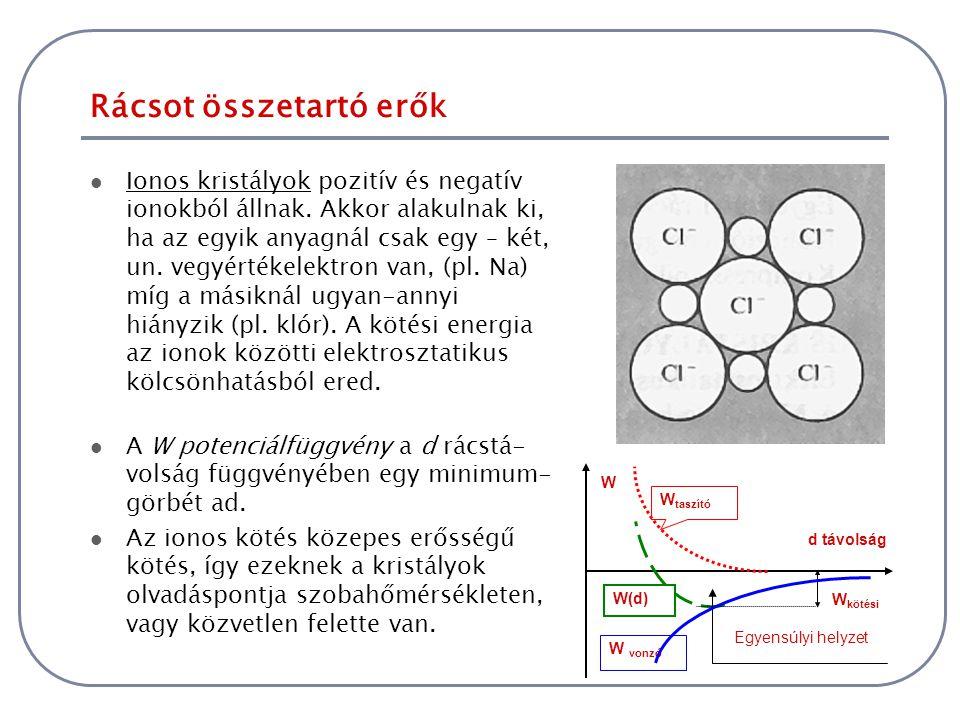 Rácsot összetartó erők A kovalens kristályokra az egyik legjellemzőbb példa a gyémánt Ennél a kötésnél az atomok úgy törekednek zárt elektronhéjra, hogy kölcsönösen használják a szomszédok elektronjait is, a gyémántban a szén négy elektronja a négy szomszédos szénatom egy-egy elektronjával alkot zárt elektronhéjat.
