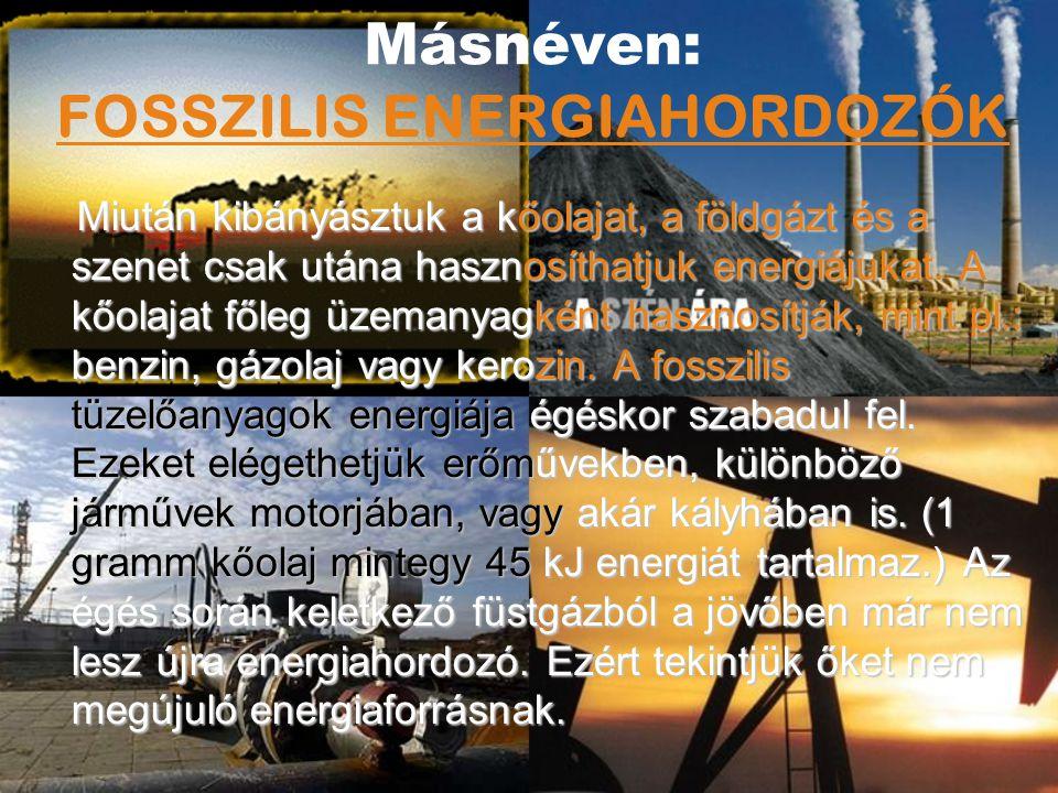 Másnéven: FOSSZILIS ENERGIAHORDOZÓK M iután kibányásztuk a kőolajat, a földgázt és a szenet csak utána hasznosíthatjuk energiájukat. A kőolajat főleg