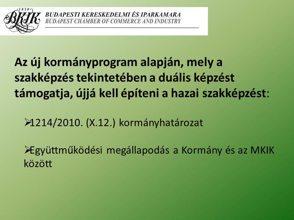 Az új kormányprogram alapján, mely a szakképzés tekintetében a duális képzést támogatja, újjá kell építeni a hazai szakképzést:  1214/2010.