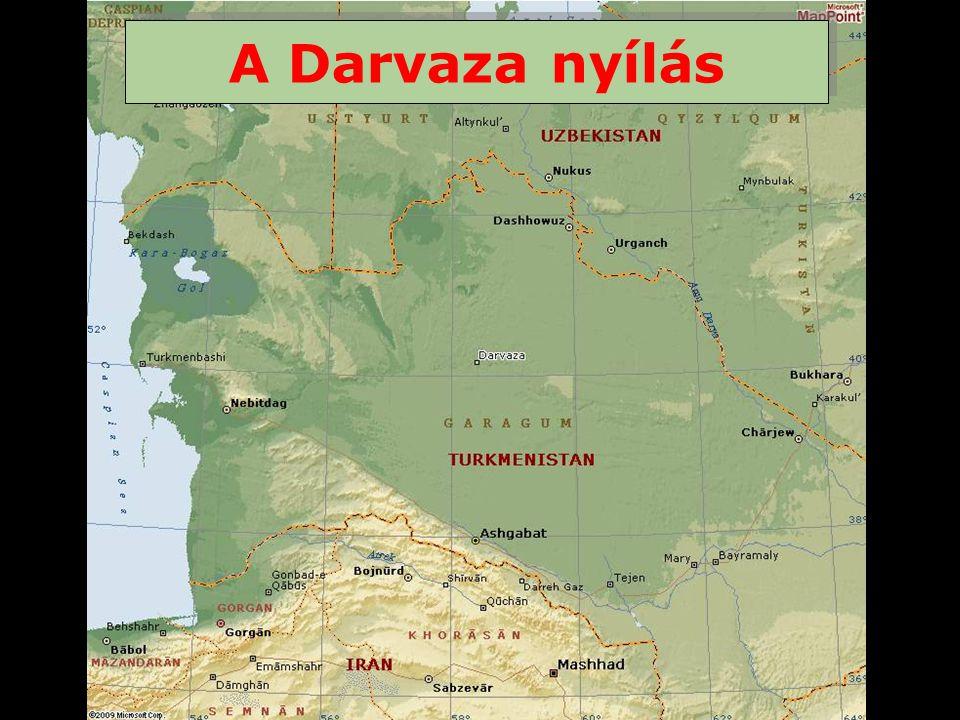 A Karakoum sivatag (Turkmenistan) kellös közepén, közel egy eltünt faluhoz amit Darvaza-nak hívtak van egy kráter ami kb.