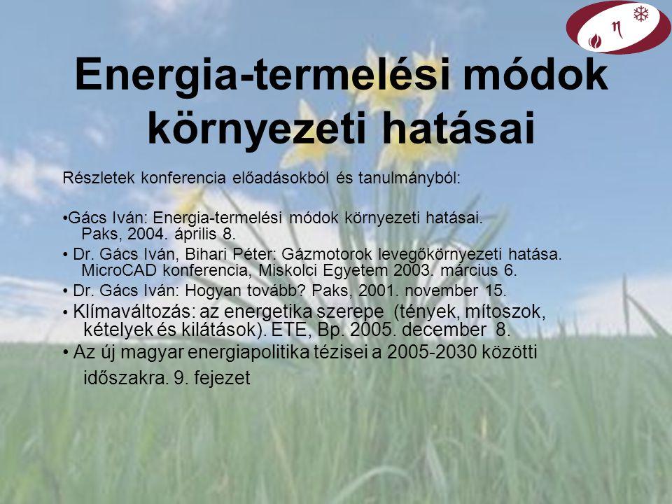 Energia-termelési módok környezeti hatásai Részletek konferencia előadásokból és tanulmányból: Gács Iván: Energia-termelési módok környezeti hatásai.