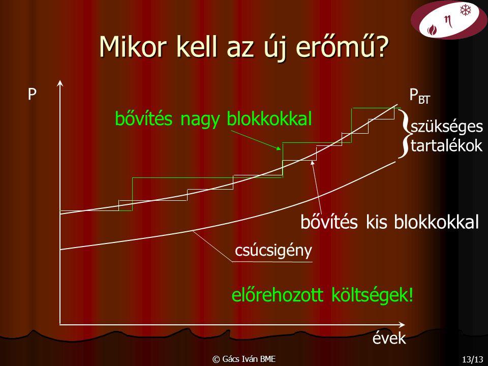 © Gács Iván BME 13/13 Mikor kell az új erőmű? évek P csúcsigény bővítés kis blokkokkal bővítés nagy blokkokkal előrehozott költségek! P BT } szükséges