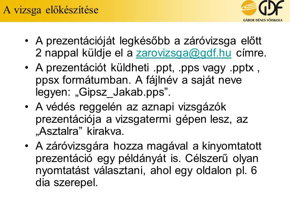 A vizsga előkészítése A prezentációját legkésőbb a záróvizsga előtt 2 nappal küldje el a zarovizsga@gdf.hu címre.zarovizsga@gdf.hu A prezentációt küldheti.ppt,.pps vagy.pptx, ppsx formátumban.