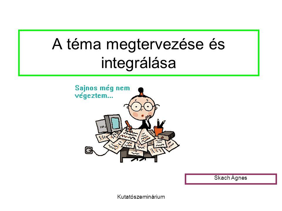Kutatószeminárium A téma megtervezése és integrálása Skach Ágnes