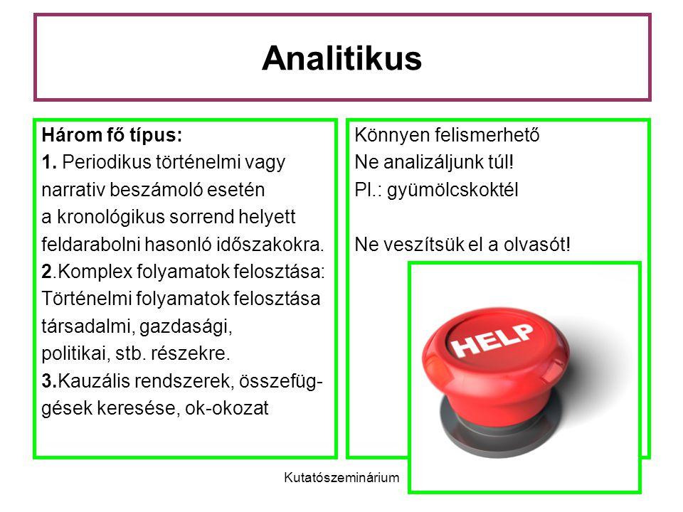 Kutatószeminárium Analitikus Három fő típus: 1.
