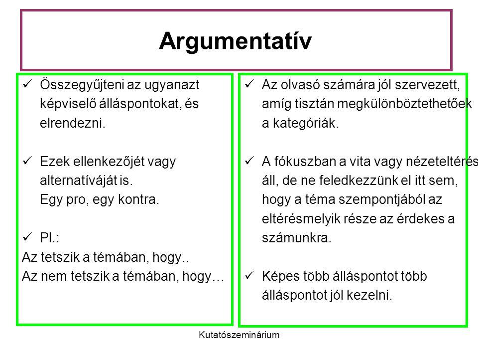 Kutatószeminárium Argumentatív Összegyűjteni az ugyanazt képviselő álláspontokat, és elrendezni. Ezek ellenkezőjét vagy alternatíváját is. Egy pro, eg