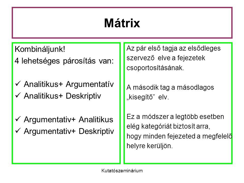 Kutatószeminárium Mátrix Kombináljunk! 4 lehetséges párosítás van: Analitikus+ Argumentatív Analitikus+ Deskriptiv Argumentativ+ Analitikus Argumentat
