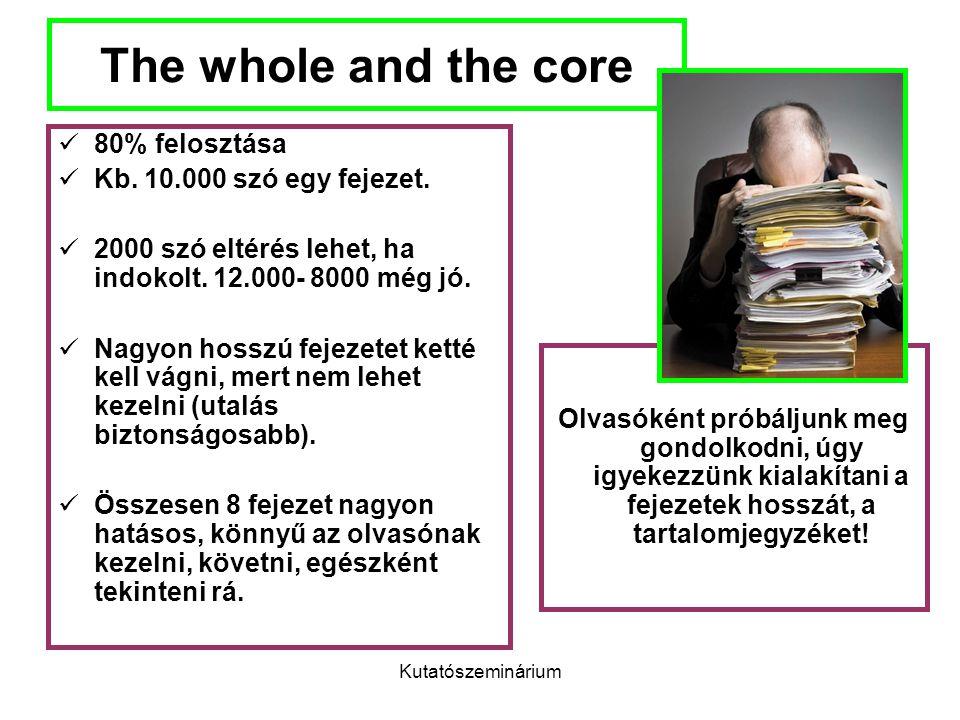 Kutatószeminárium The whole and the core 80% felosztása Kb. 10.000 szó egy fejezet. 2000 szó eltérés lehet, ha indokolt. 12.000- 8000 még jó. Nagyon h
