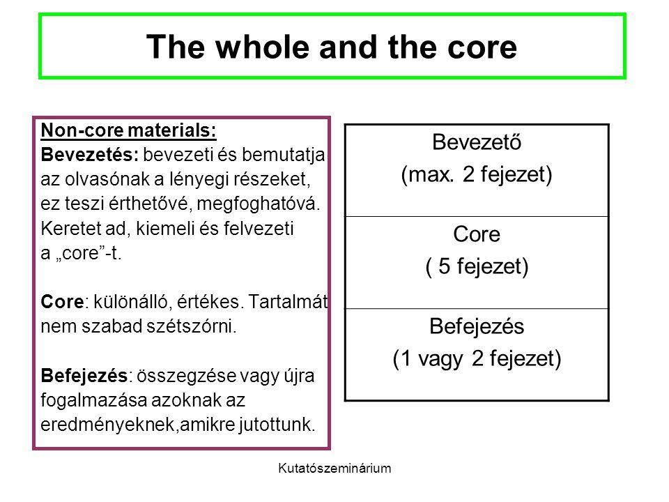Kutatószeminárium The whole and the core Non-core materials: Bevezetés: bevezeti és bemutatja az olvasónak a lényegi részeket, ez teszi érthetővé, meg