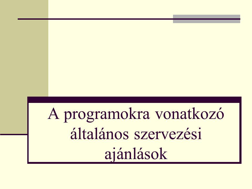 A programokra vonatkozó általános szervezési ajánlások