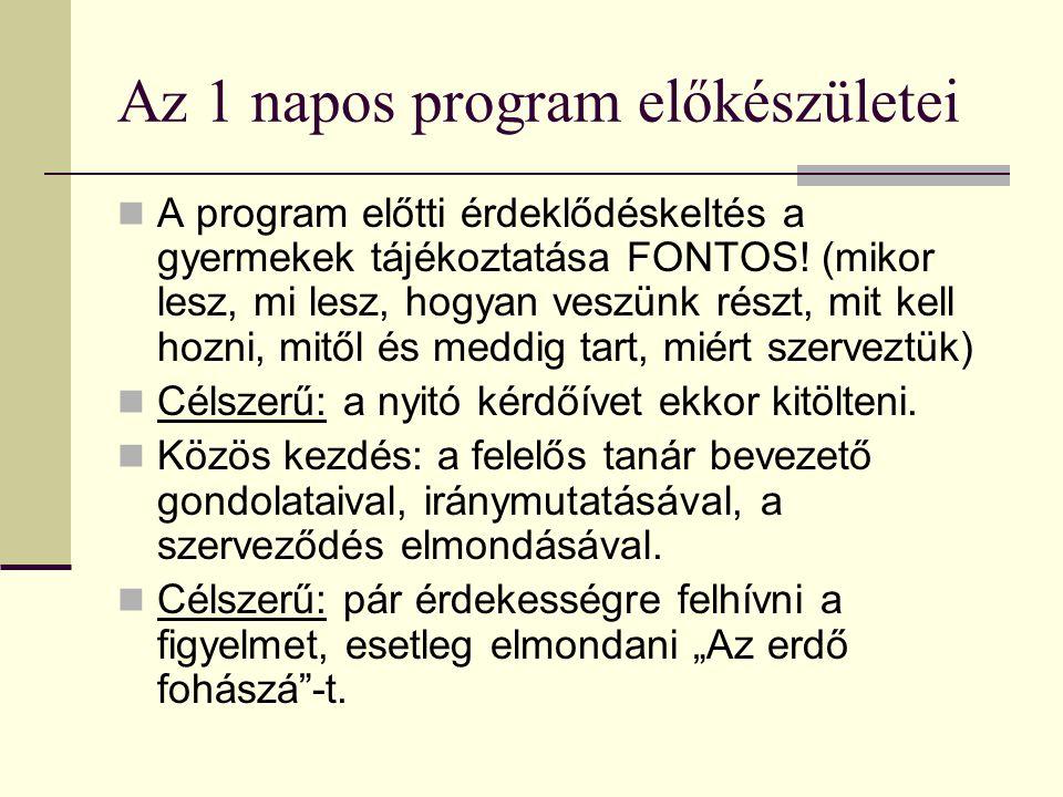 Az 1 napos program előkészületei A program előtti érdeklődéskeltés a gyermekek tájékoztatása FONTOS.