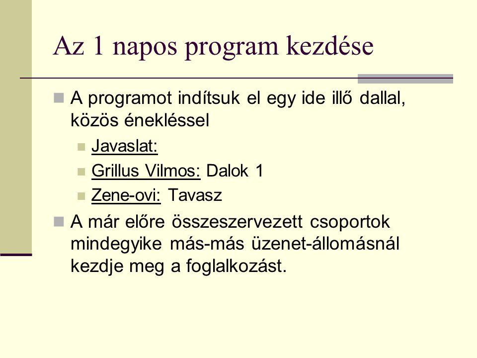 Az 1 napos program kezdése A programot indítsuk el egy ide illő dallal, közös énekléssel Javaslat: Grillus Vilmos: Dalok 1 Zene-ovi: Tavasz A már előre összeszervezett csoportok mindegyike más-más üzenet-állomásnál kezdje meg a foglalkozást.
