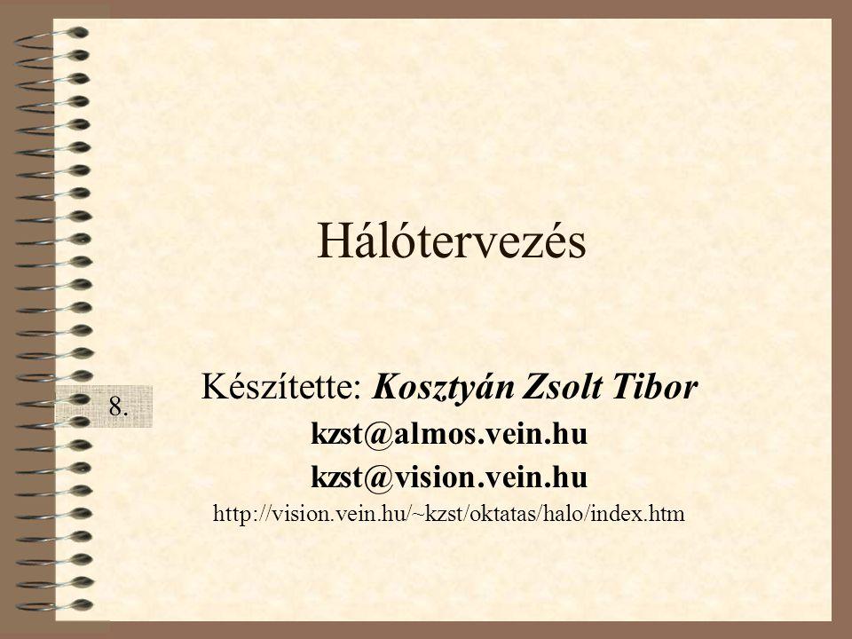 Hálótervezés Készítette: Kosztyán Zsolt Tibor kzst@almos.vein.hu kzst@vision.vein.hu http://vision.vein.hu/~kzst/oktatas/halo/index.htm 8.8.