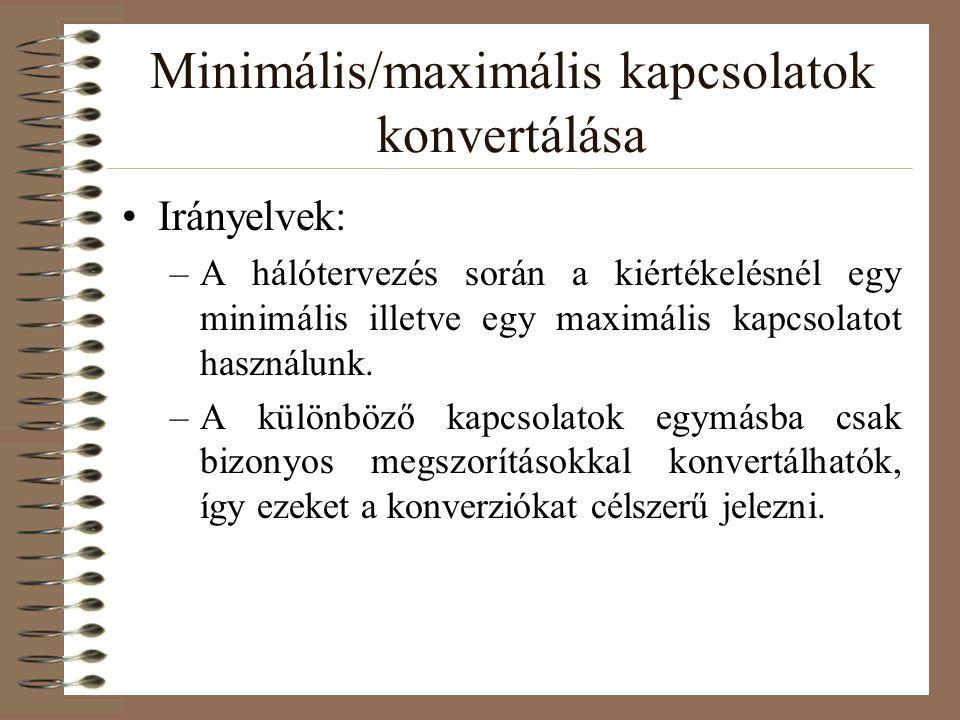Minimális/maximális kapcsolatok konvertálása Irányelvek: –A hálótervezés során a kiértékelésnél egy minimális illetve egy maximális kapcsolatot haszná