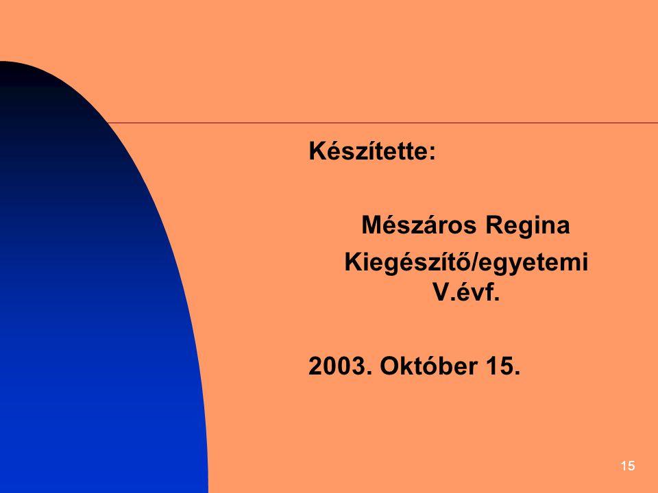 15 Készítette: Mészáros Regina Kiegészítő/egyetemi V.évf. 2003. Október 15.