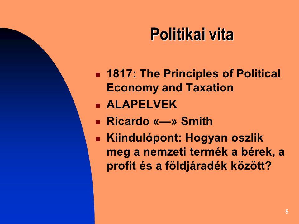 5 Politikai vita 1817: The Principles of Political Economy and Taxation ALAPELVEK Ricardo «—» Smith Kiindulópont: Hogyan oszlik meg a nemzeti termék a bérek, a profit és a földjáradék között?