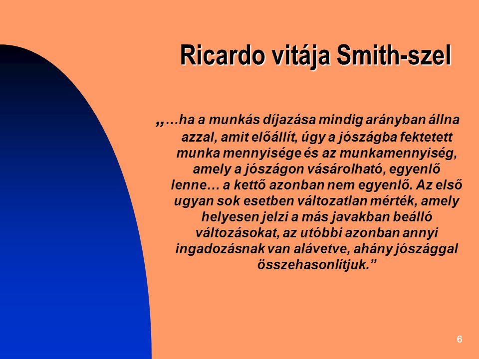 """6 Ricardo vitája Smith-szel """" …ha a munkás díjazása mindig arányban állna azzal, amit előállít, úgy a jószágba fektetett munka mennyisége és az munkamennyiség, amely a jószágon vásárolható, egyenlő lenne… a kettő azonban nem egyenlő."""