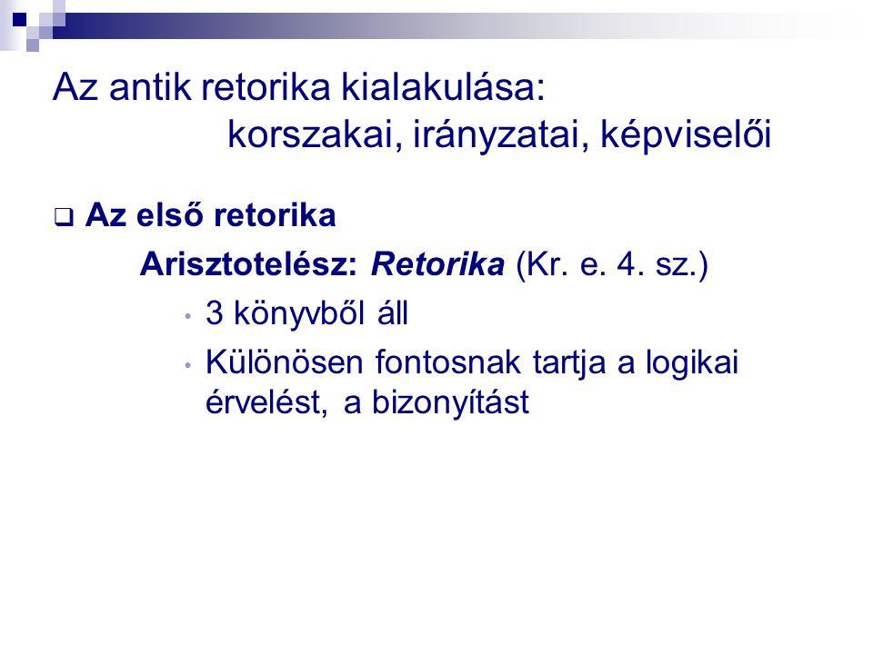 Az antik retorika kialakulása: korszakai, irányzatai, képviselői  Az első retorika Arisztotelész: Retorika (Kr.
