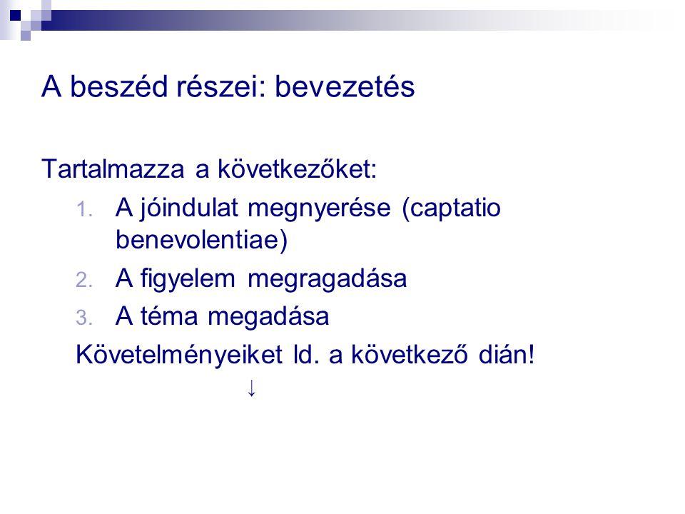 A beszéd részei: bevezetés Tartalmazza a következőket: 1.