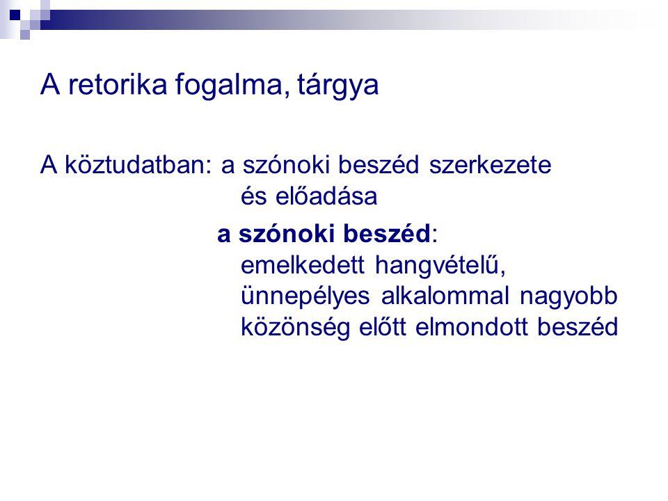 """A retorika fogalma, tárgya A magyar nyelv értelmező szótára: """"Az a tudományág, amely a szónoki beszéd szerkesztésével és előadásával foglalkozik; szónoklattan a szónoki beszéd (uo.): Olyan beszéd, amelyet rendszerint nagyobb közönséghez intéznek, s amelynek célja, hogy a szónok a közönséget valamiről meggyőzze, valamire rábeszélje: szónoklat"""