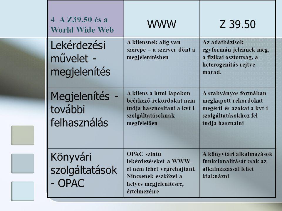 4. A Z39.50 és a World Wide Web WWWZ 39.50 Lekérdezési művelet - megjelenítés A kliensnek alig van szerepe – a szerver dönt a megjelenítésben Az adatb