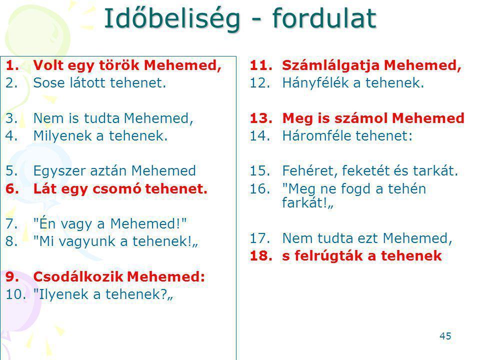 Időbeliség - fordulat 1.Volt egy török Mehemed, 2.Sose látott tehenet.