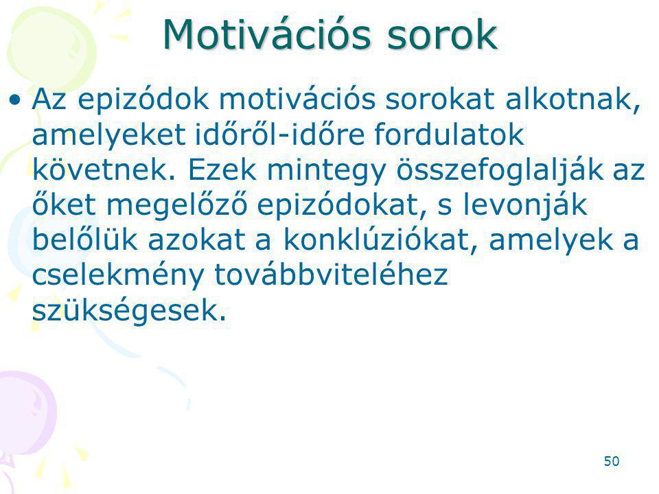 Motivációs sorok Az epizódok motivációs sorokat alkotnak, amelyeket időről-időre fordulatok követnek.