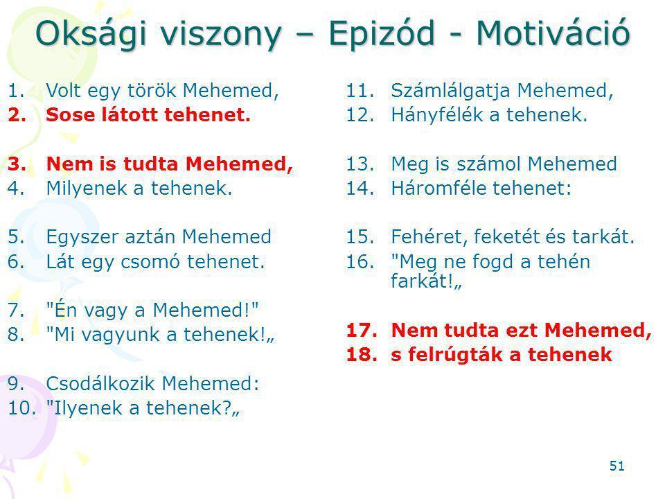 Oksági viszony – Epizód - Motiváció 1.Volt egy török Mehemed, 2.Sose látott tehenet.
