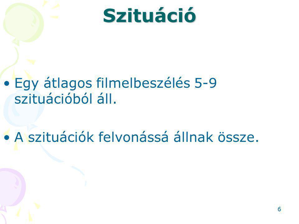 Szituáció Egy átlagos filmelbeszélés 5-9 szituációból áll. A szituációk felvonássá állnak össze. 6