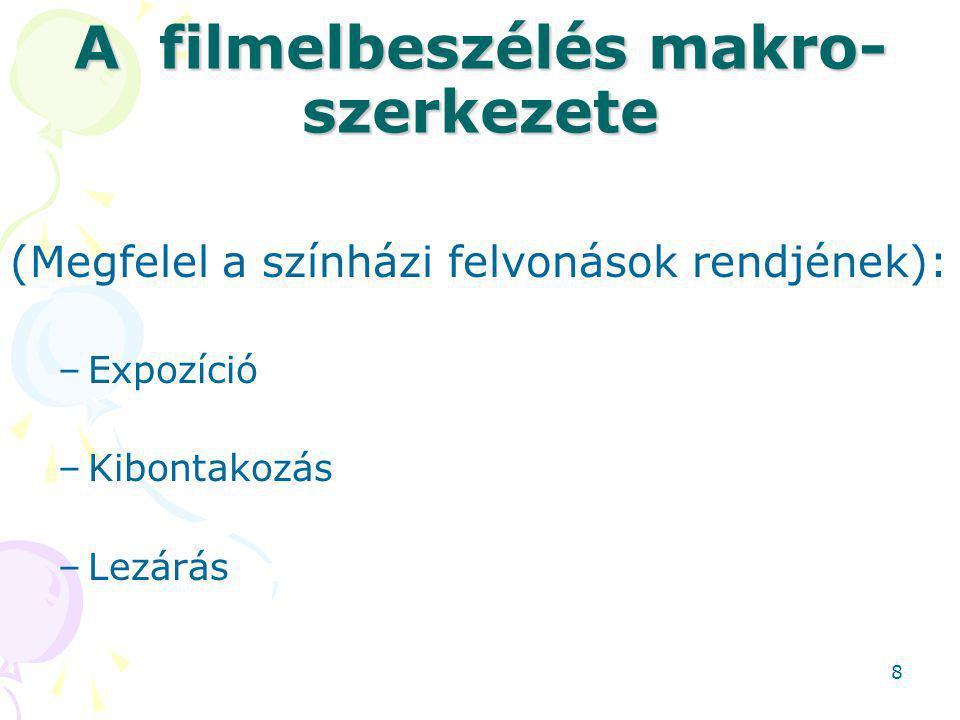 A filmelbeszélés makro- szerkezete (Megfelel a színházi felvonások rendjének): –Expozíció –Kibontakozás –Lezárás 8