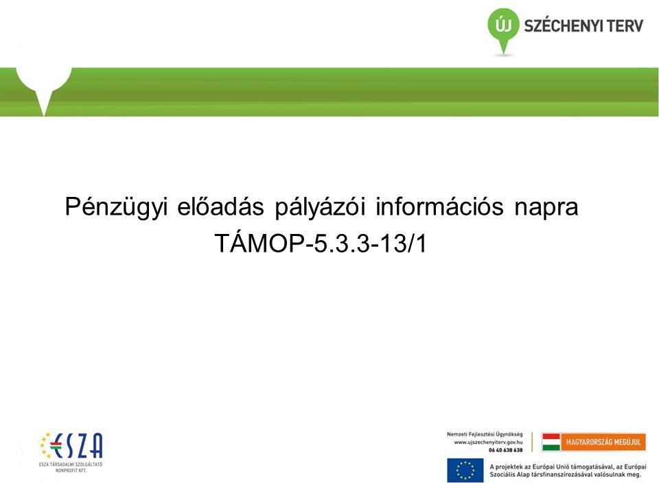 Pénzügyi előadás pályázói információs napra TÁMOP-5.3.3-13/1
