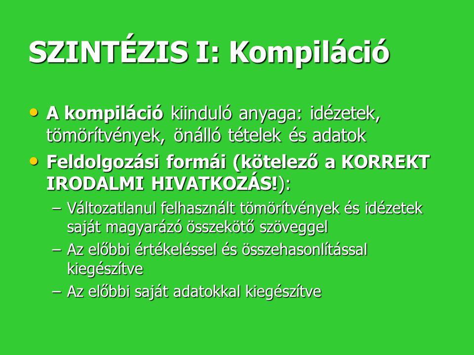 SZINTÉZIS I: Kompiláció A kompiláció kiinduló anyaga: idézetek, tömörítvények, önálló tételek és adatok A kompiláció kiinduló anyaga: idézetek, tömörí