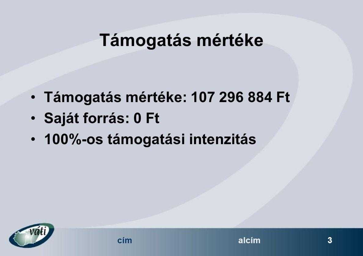 címalcím 3 Támogatás mértéke Támogatás mértéke: 107 296 884 Ft Saját forrás: 0 Ft 100%-os támogatási intenzitás